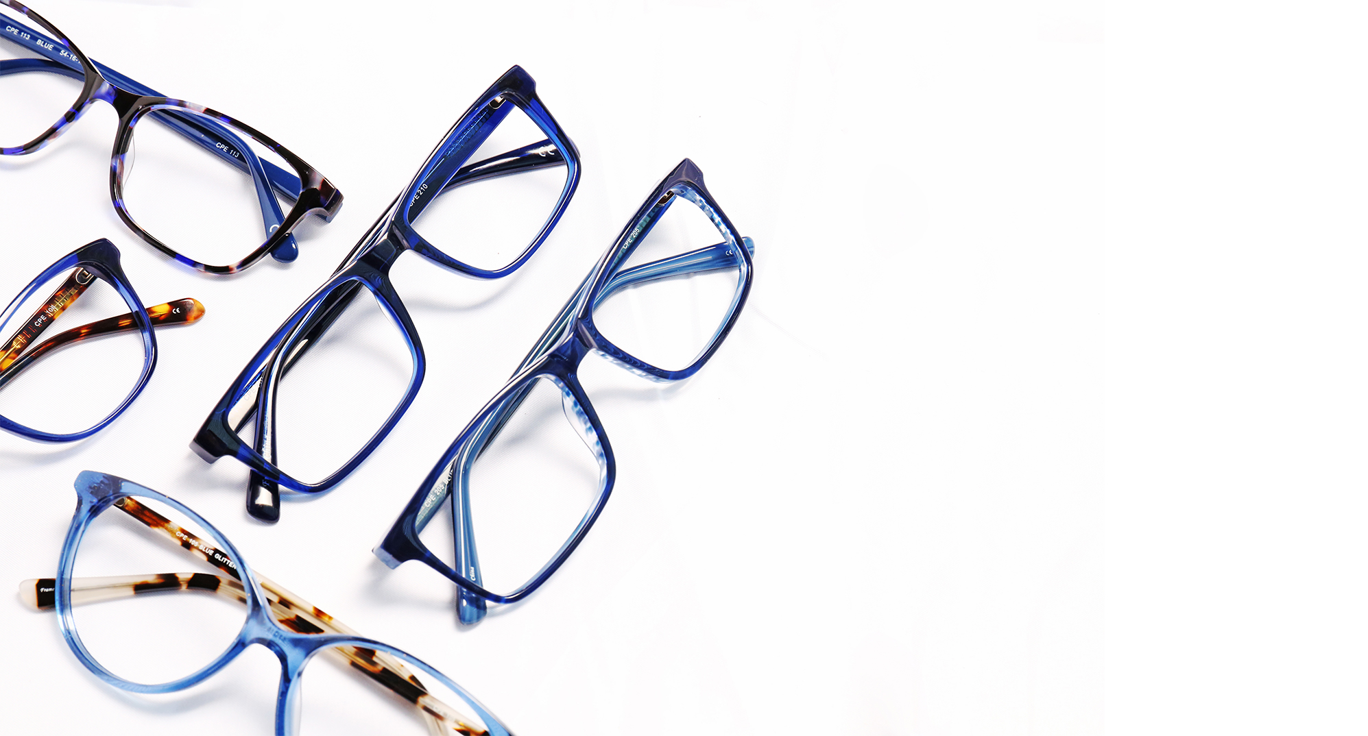 3 pairs of blue frames