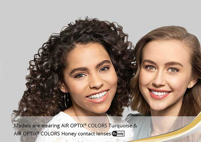 Women wearing color contacts