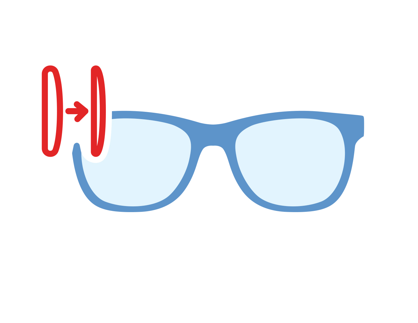 Icon of glasses with hi-index lenses
