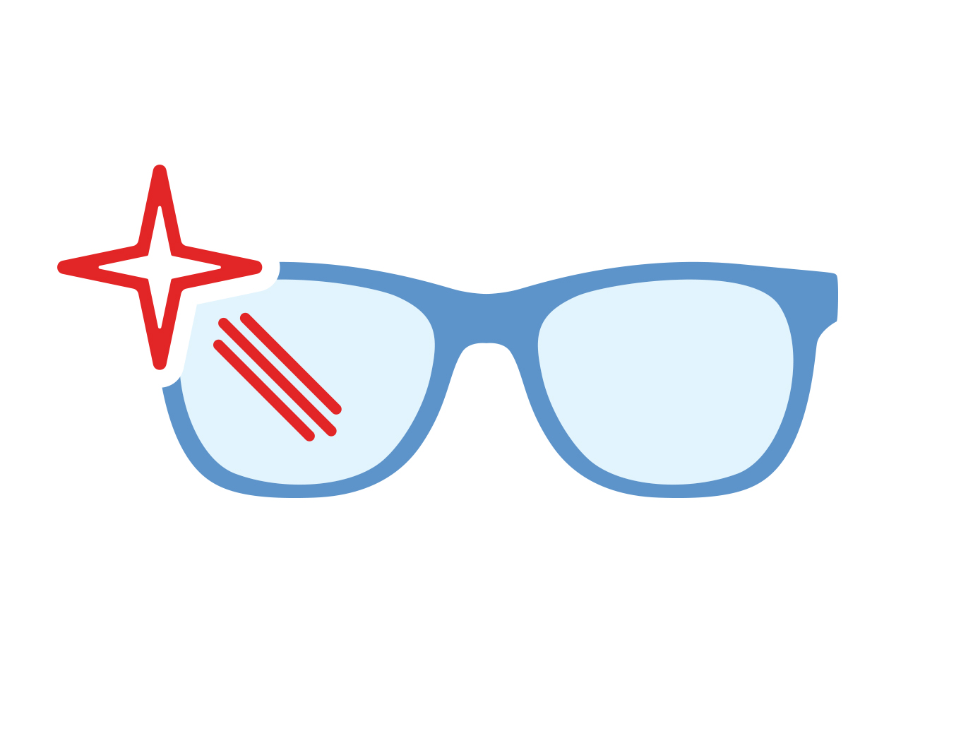 Icon of glasses with anti-glare lenses