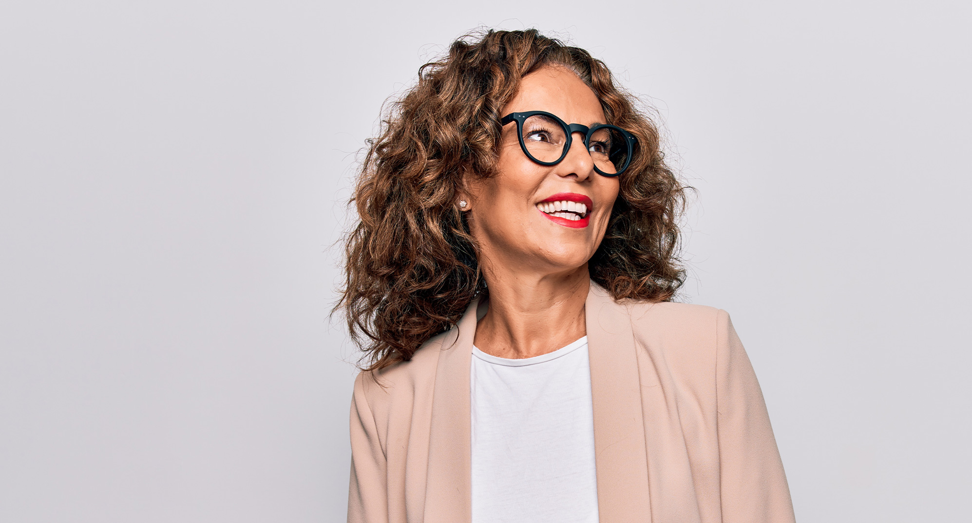 Mature woman wearing glasses with progressive lenses