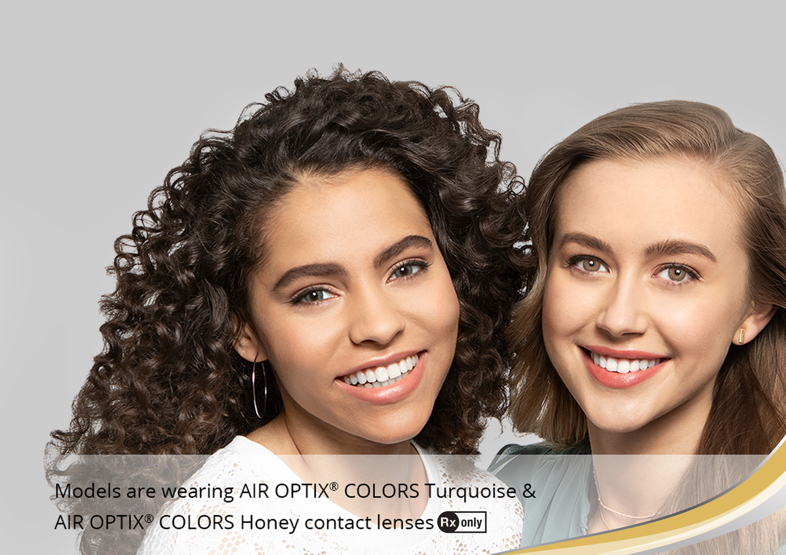 2 women wearing color contact lenses